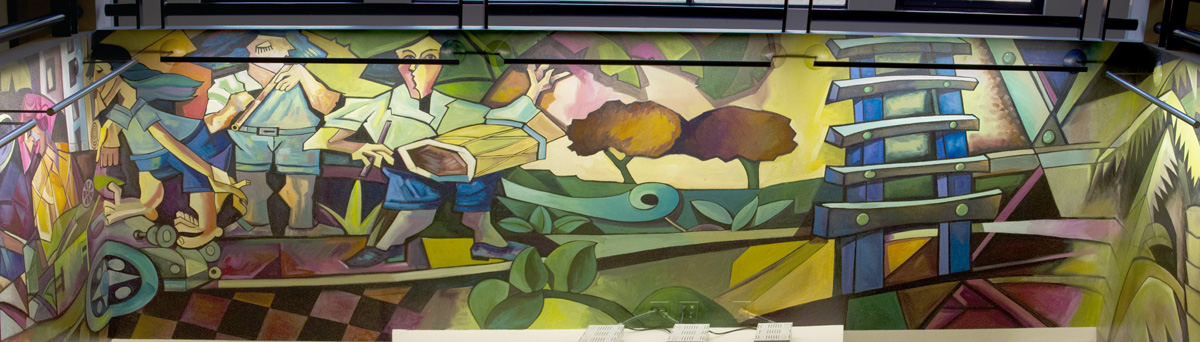 Attrium Mural at the San Luis Obispo Library, north wall.